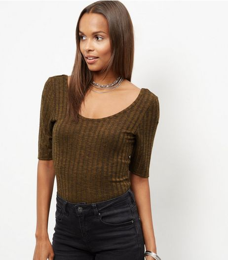 Olive Green Ribbed 1/2 Sleeve Top | New Look