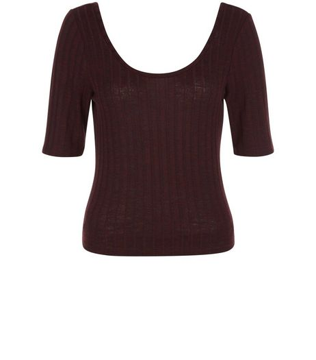 Burgundy Fine Knit Ribbed Scoop Neck Top  | New Look