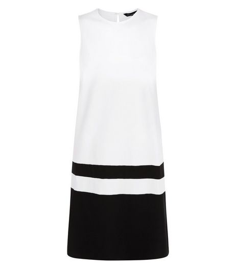 Monochrome Colour Block Sleeveless Shift Dress  | New Look