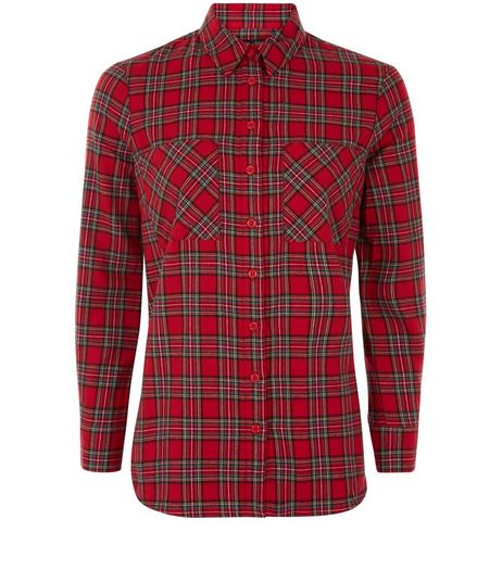 Petite Red Tartan Check Shirt  | New Look