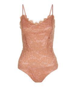 Cameo Rose Mid Pink Lace V Neck Bodysuit | New Look
