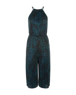 Petite Blue Animal Print Pleated Culotte Jumpsuit | New Look
