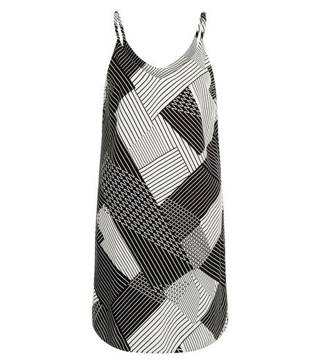 Petite Black Abstract Stripe Slip Dress | New Look