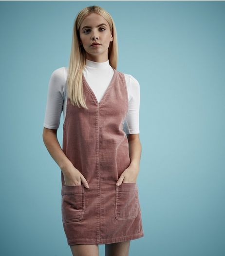 Petite Pink Cord Pinafore Dress  | New Look