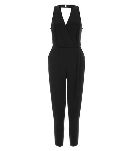 Petite Black Halter Neck Jumpsuit | New Look