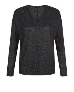 Teens Dark Grey Ribbed Long Sleeve Top | New Look