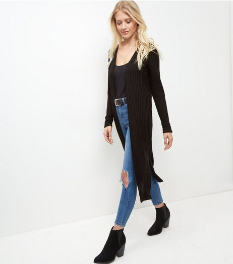 Black Fine Knit Longline Cardigan  | New Look