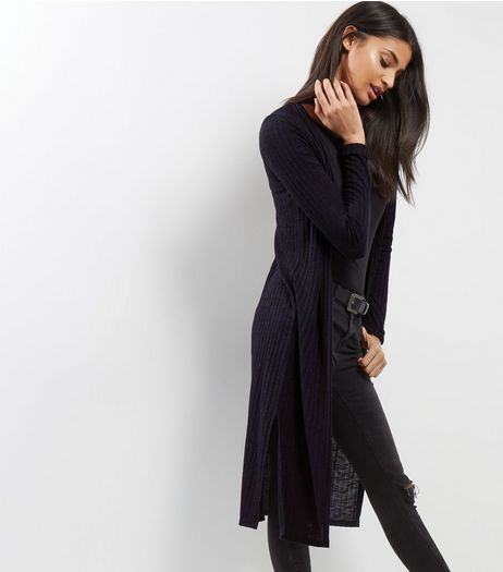 Navy Fine Knit Ribbed Longline Cardigan | New Look