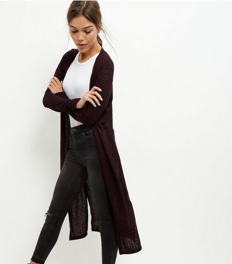 Dark Purple Longline Cardigan | New Look
