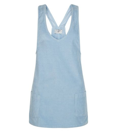 Teens Pale Blue Cord Pinafore Dress | New Look