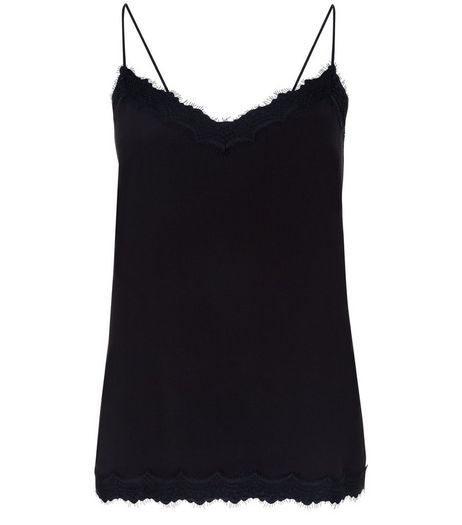 Petite Black Lace Trim Cami | New Look