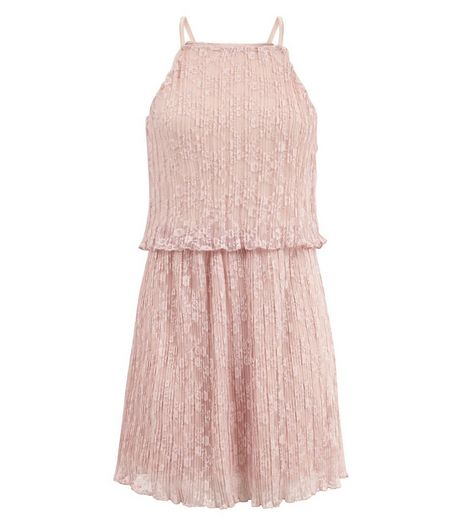 Teens Mid Pink Lace Layered Slip Dress | New Look