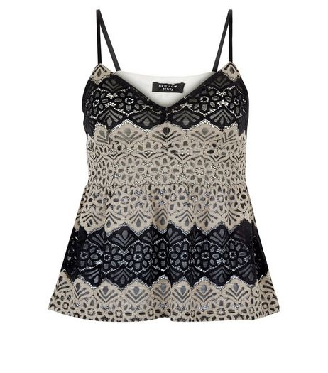 Petite Black Contrast Lace Peplum Cami  | New Look
