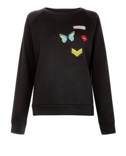 Cameo Rose Black Butterfly Badge Sweater | New Look