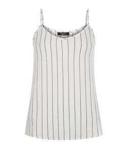 Teens White Pinstripe Crepe Cami | New Look