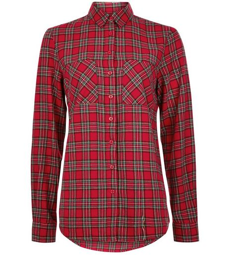 Tall Red Tartan Check Long Sleeve Shirt | New Look