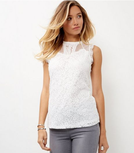 Tall Cream Lace Mesh Vest  | New Look
