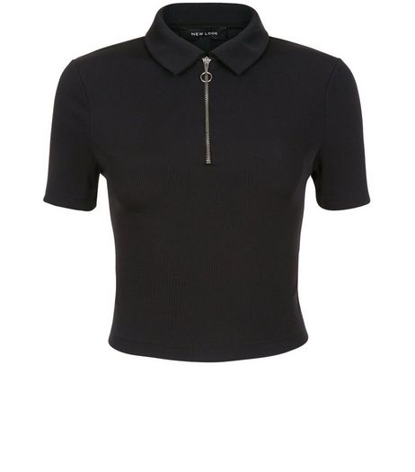 Black Ribbed Zip Front Collared T-Shirt  | New Look