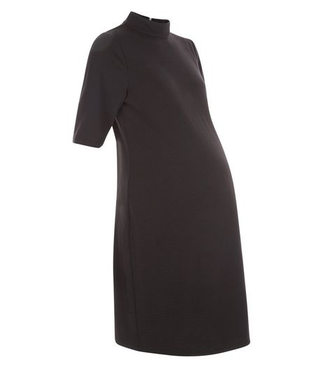 Maternity Black Textured Tunic Dress | New Look