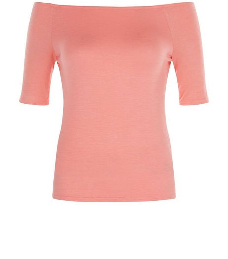 Tall Coral 1/2 Sleeve Bardot Neck Top | New Look
