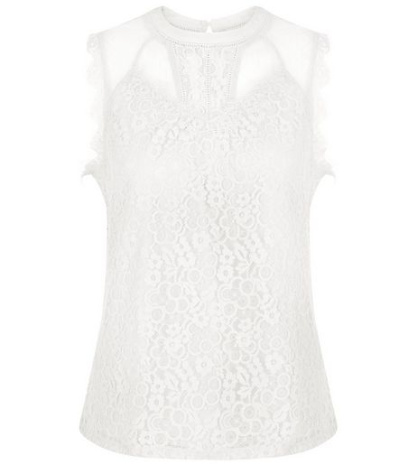 Cream Lace Panel Vest | New Look