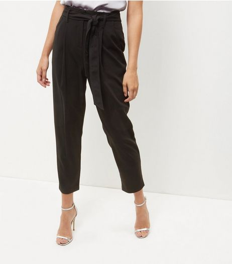 Tall Black Belted Cropped Trousers | New Look