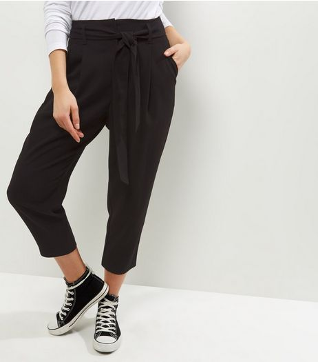 Petite Black Belted Trousers | New Look