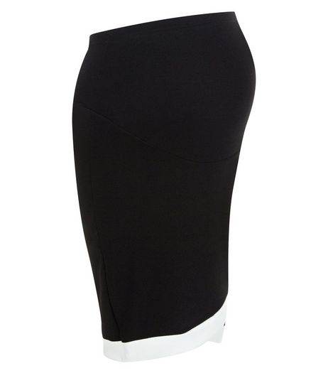 Maternity Black Over Bump Contrast Trim Wrap Skirt | New Look