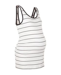 Maternity White Stripe Vest  | New Look
