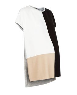 Maternity Cream Colour Block T-Shirt | New Look