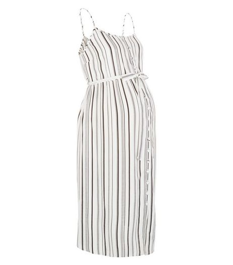 Maternity White Stripe Button Front Midi Dress | New Look