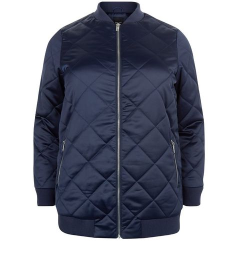 Curves Navy Quilted Longline Bomber Jacket | New Look