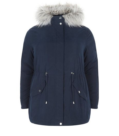 Curves Navy Faux Fur Trim Hooded Parka Jacket  | New Look