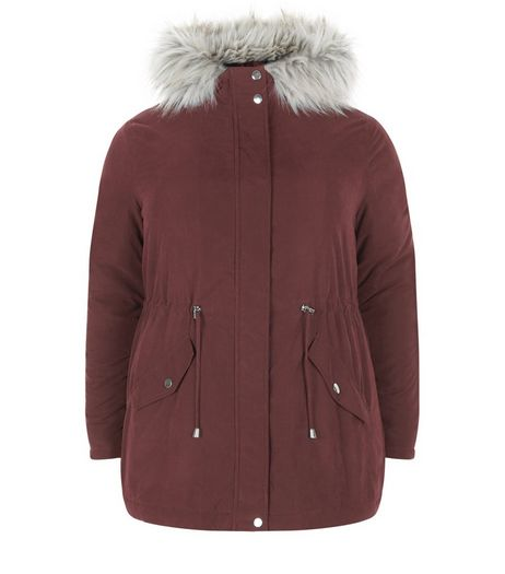 Curves Burgundy Faux Fur Trim Hooded Parka Jacket  | New Look