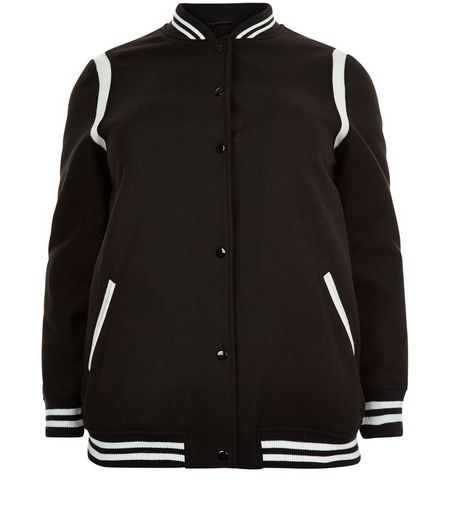 Curves Black Stripe Trim Bomber Jacket | New Look