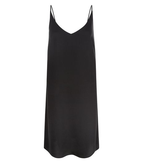 Black Sateen V Neck Slip Dress  | New Look