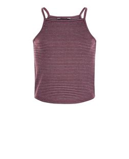 Teens Red Check High Neck Cami | New Look