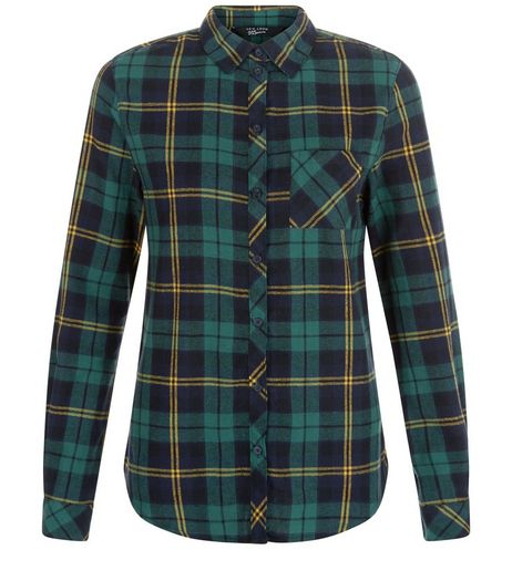 Teens Green Check Long Sleeve Shirt  | New Look