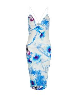 AX Paris Blue Floral Print Plunge Midi Dress | New Look