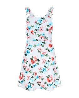 Teens White Floral Print Pinafore Dress | New Look