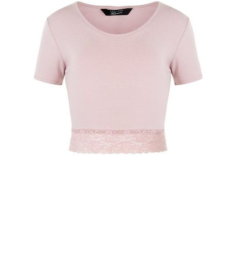 Teens Mid Pink Lace Trim T-Shirt | New Look