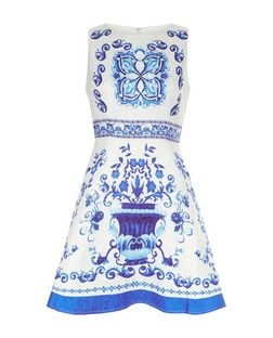 AX Paris Cream Baroque Print Skater Dress | New Look