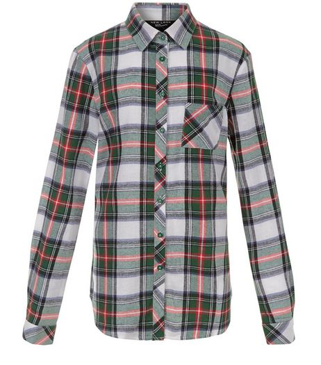 Teens White Tartan Check Long Sleeve Shirt | New Look