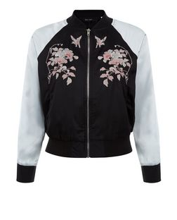 Petite Black Embroidered Contrast Sleeve Bomber Jacket | New Look