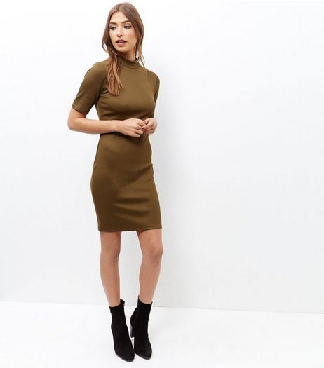 Olive Green Funnel Neck 1/2 Sleeve Bodycon Dress  | New Look