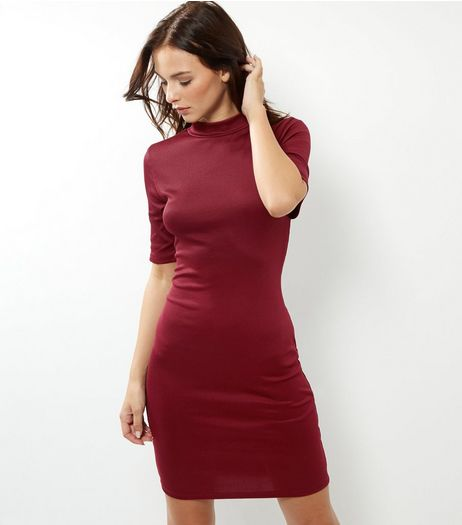 Burgundy Funnel Neck 1/2 Sleeve Bodycon Dress | New Look