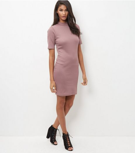 Mid Pink Funnel Neck 1/2 Sleeve Bodycon Dress  | New Look