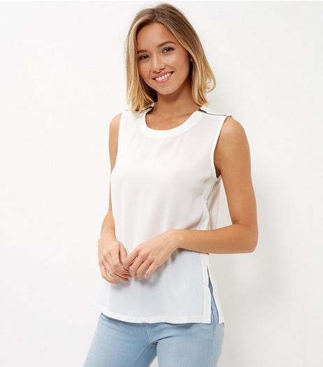 Cream Fine Knit Zip Shoulder Sleeveless Top  | New Look