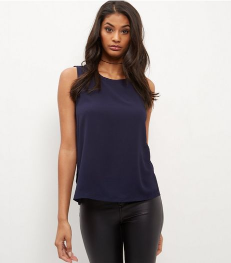 Navy Fine Knit Zip Shoulder Sleeveless Top  | New Look