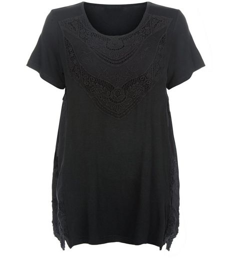 Apricot Black Embroidered Short Sleeve Top | New Look
